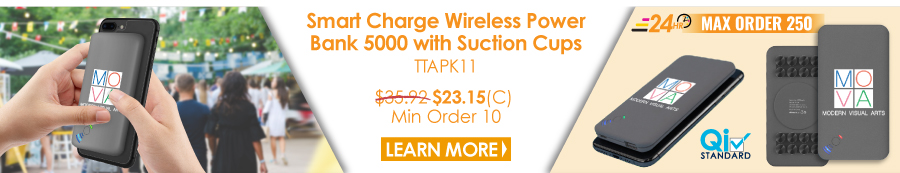 Smart Charge Wireless Power Bank 5000 with Suction Cups