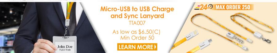 Micro-USB to USB Charge and Sync Lanyard
